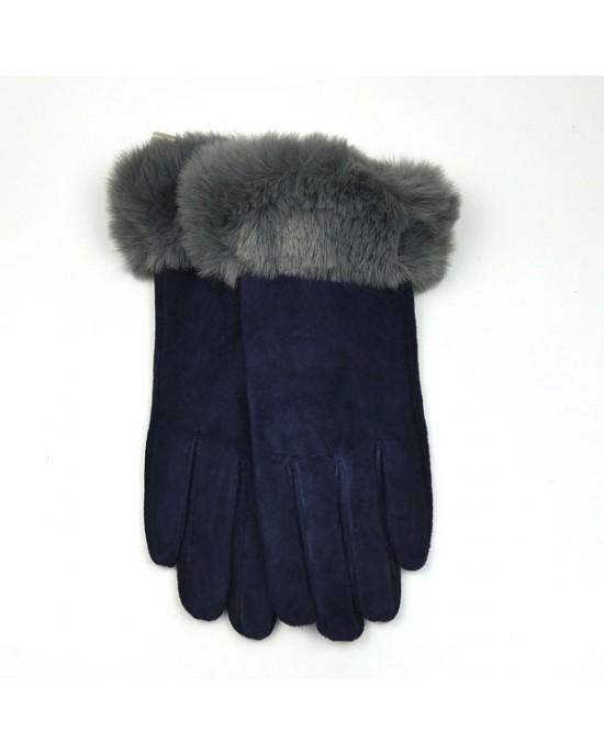 Navy Suede Gloves with Faux Fur Trim