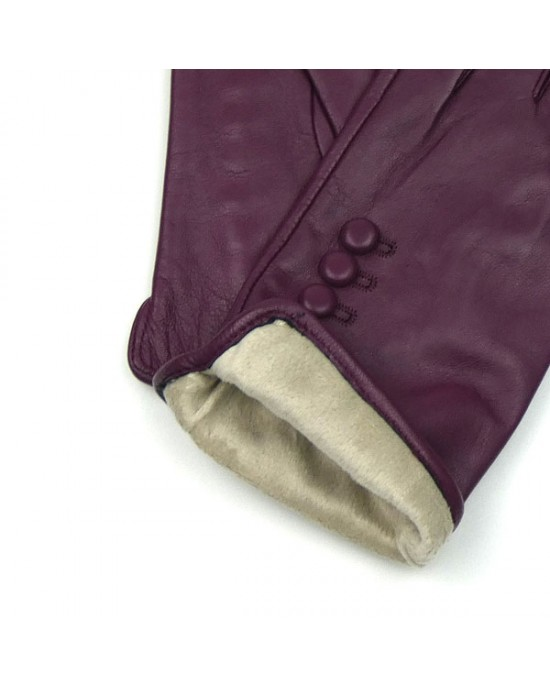 Leather Gloves in Berry Red - GIFTS