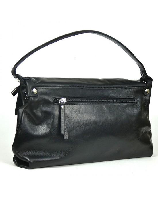 Black Italian Leather Handbag - HANDBAGS