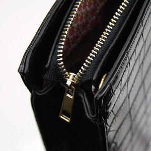 Mock Croc Black Handbag