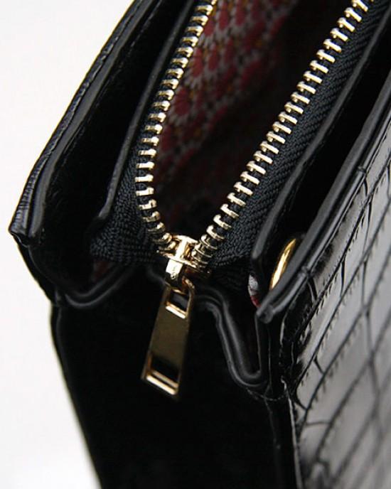 Structured Mock Croc Handbag