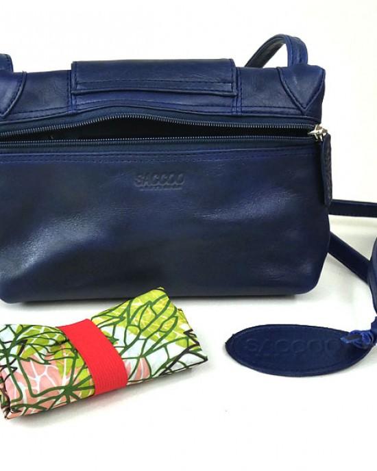 Blue Leather Resa Shoulder Bag by SACCOO