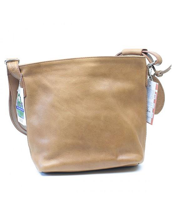 Cognac Leather Shoulder Bag - HANDBAGS