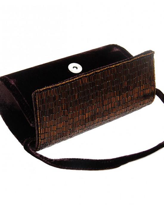 Small Damson Velvet Beaded Barrel Bag