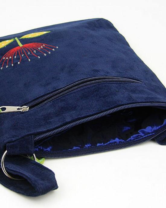 Deep Blue Corduroy Pohu Messenger Bag
