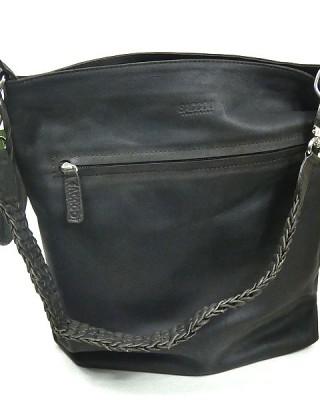 Dark Brown Matt Leather SACCOO Shoulder Bag