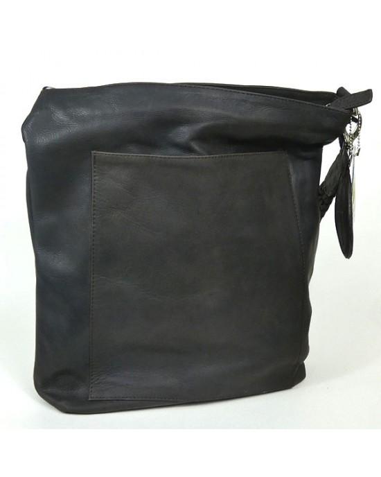 Dark Brown Matt Leather SACCOO Shoulder Bag - HANDBAGS