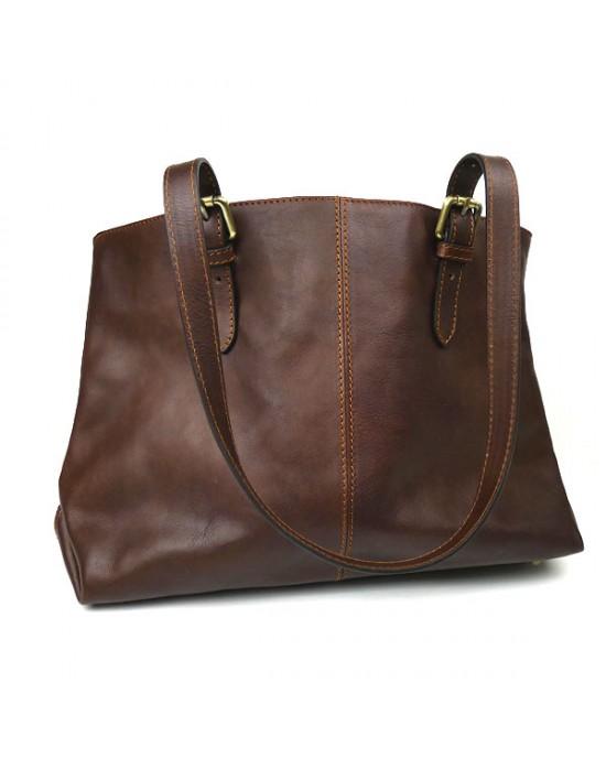 Dark Chocolate Italian Leather Shoulder Bag - HANDBAGS