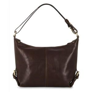 Italian Leather Shoulder Bag, Dark Chocolate