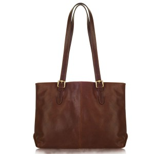Dark Chocolate Italian Leather Shoulder Bag