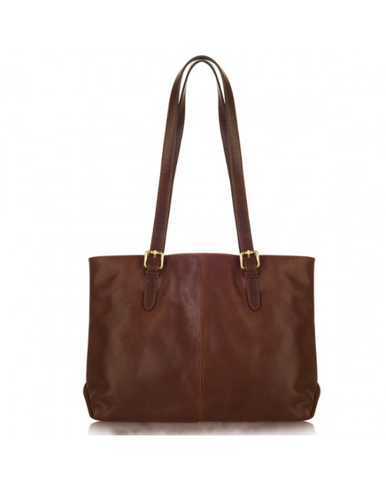 Dark Chocolate Italian Leather Shoulder Bag