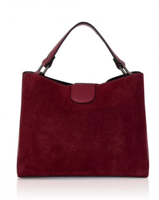 Dark Red Suede Leather Handbag