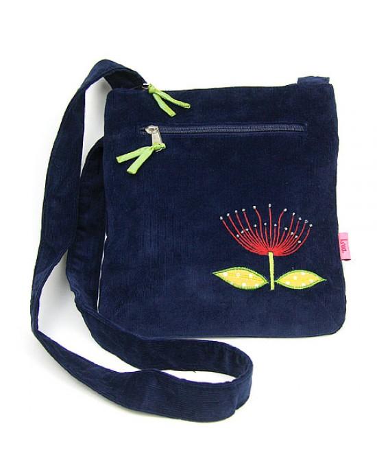 Deep Blue Corduroy Pohu Messenger Bag - HANDBAGS