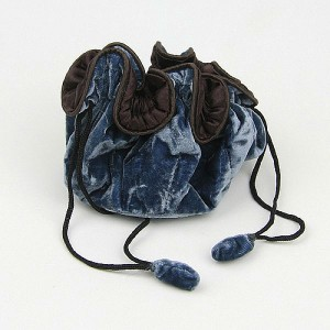 Drawstring Velvet Jewellery Pouch in Dusky Blue