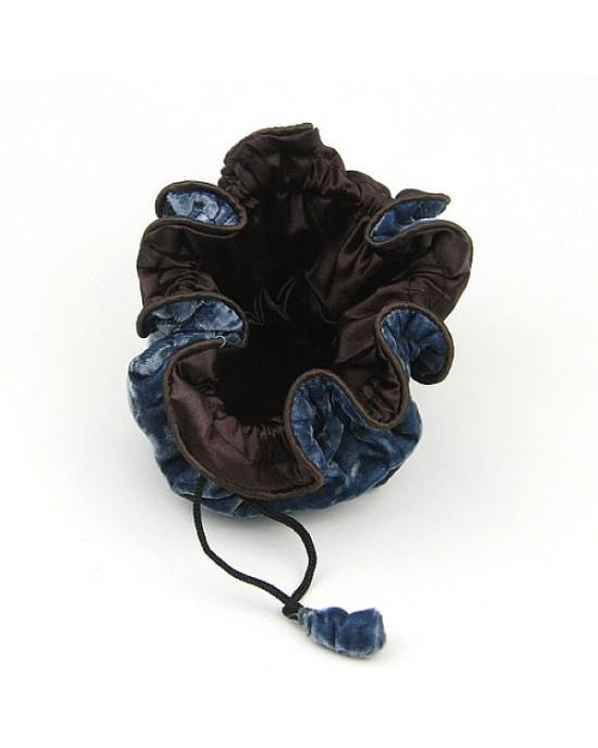 Drawstring Velvet Jewellery Pouch in Dusky Blue