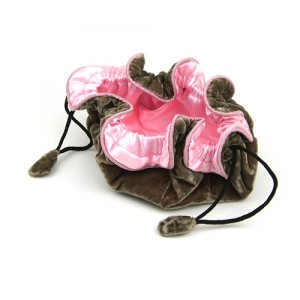 Drawstring Velvet Jewellery Pouch in Mink