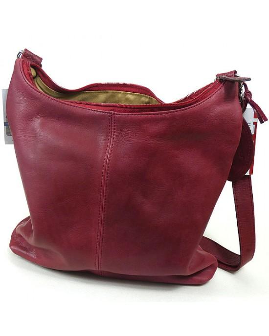 Fundo Leather Shoulder Bag in Caracas Red - HANDBAGS