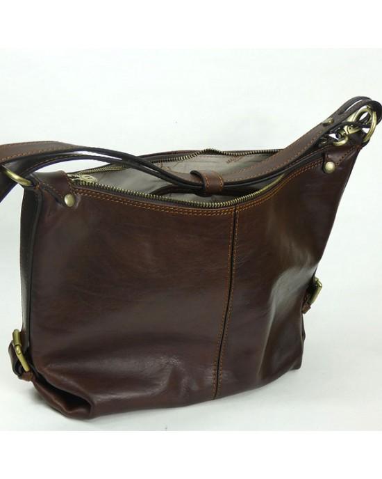 Italian Leather Hobo Shoulder Bag - HANDBAGS