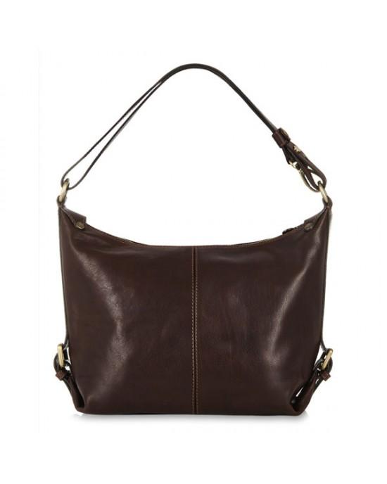 Italian Leather Shoulder Bag, Dark Chocolate - HANDBAGS
