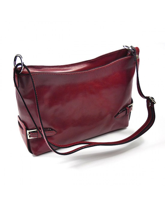 Italian Red Leather Shoulder Bag - HANDBAGS