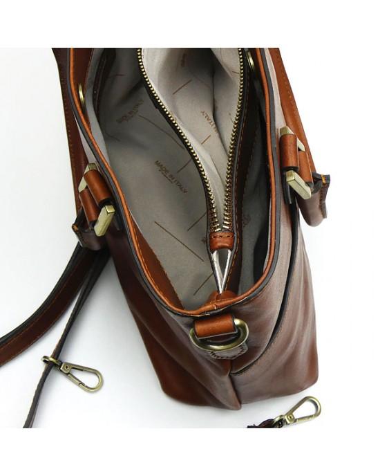 Light Chocolate Italian Leather Handbag - HANDBAGS