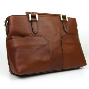 Light Chocolate Italian Leather Handbag