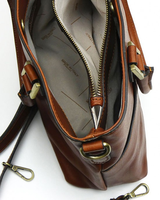 Light Chocolate Italian Leather Handbag
