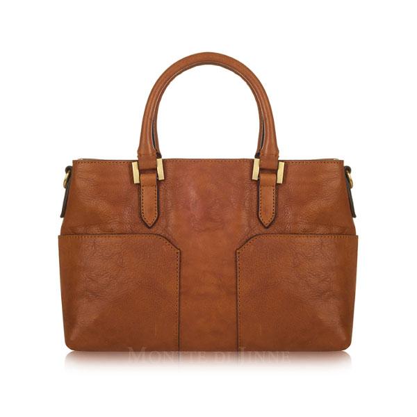 ef26c9f709aa Light chocolate Italian leather handbag and shoulder bag