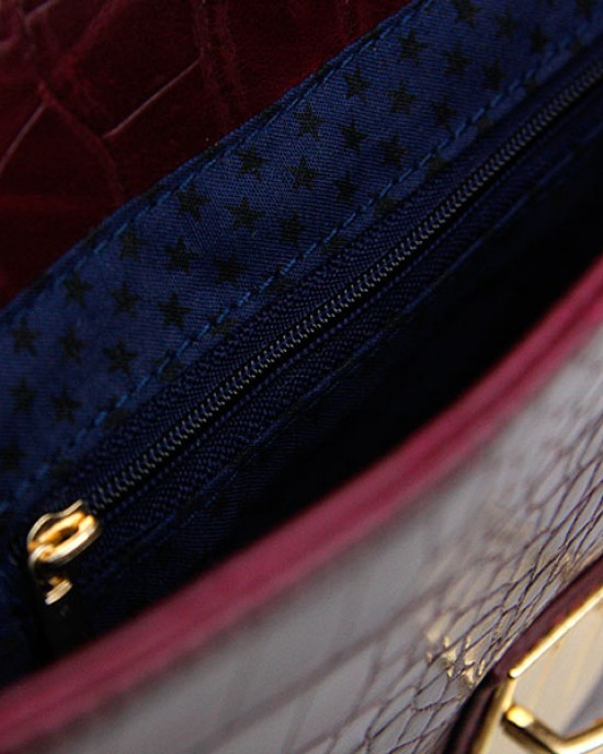 Mock Croc Satchel Handbag