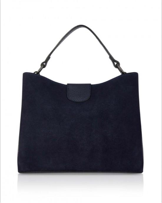 Navy Suede Leather Handbag - HANDBAGS