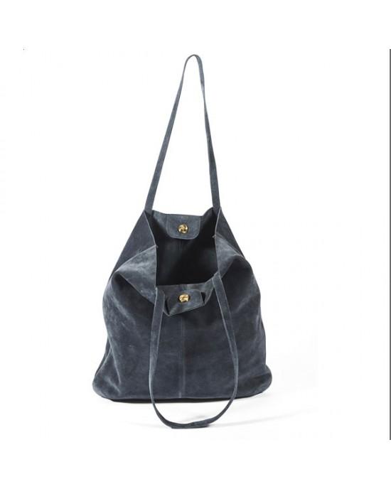 Navy Suede Tote Shoulder Bag - HANDBAGS