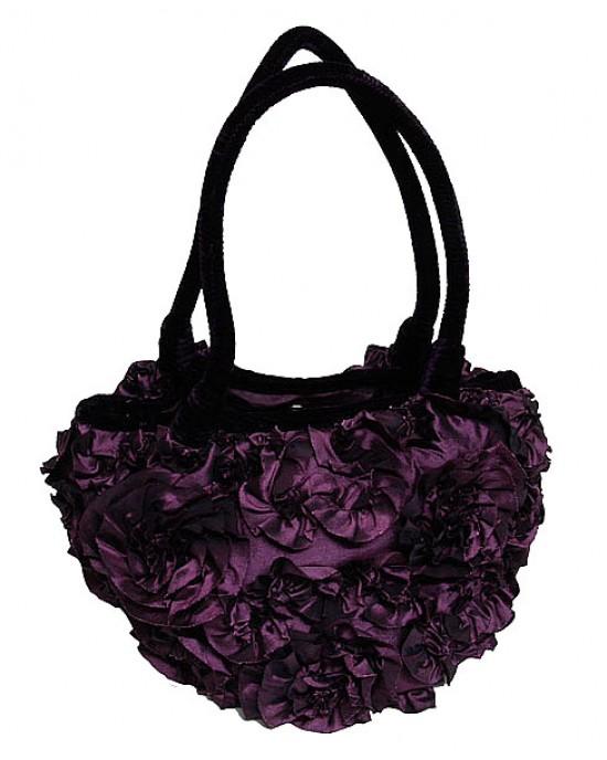 Purple Velvet Ruffle Bag