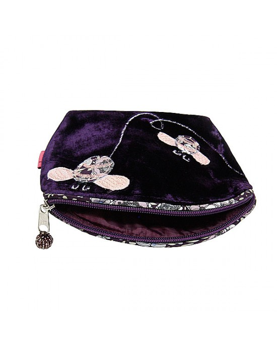 Purple Velvet Bee Cosmetic Purse - HANDBAGS