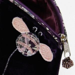 Purple Velvet Bee Cosmetic Purse