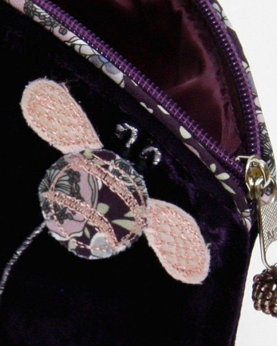 Purple Velvet Bee Cosmetic Purse,HANDBAGS,Lua Accessories