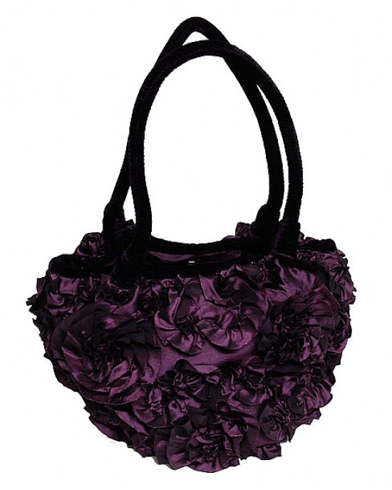 Purple Velvet Ruffle Bag - HANDBAGS