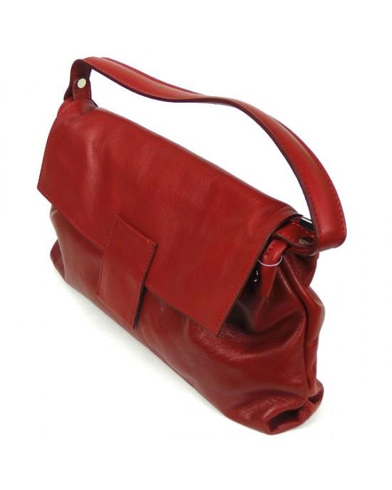 Red Italian Leather Handbag - HANDBAGS