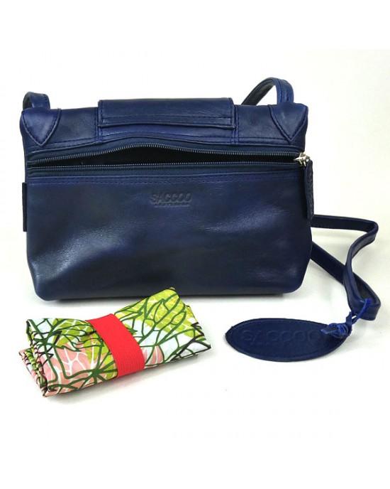 Shoulder Bag, Blue Leather, Resa by SACCOO