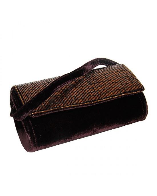 Small Damson Velvet Beaded Barrel Bag - HANDBAGS