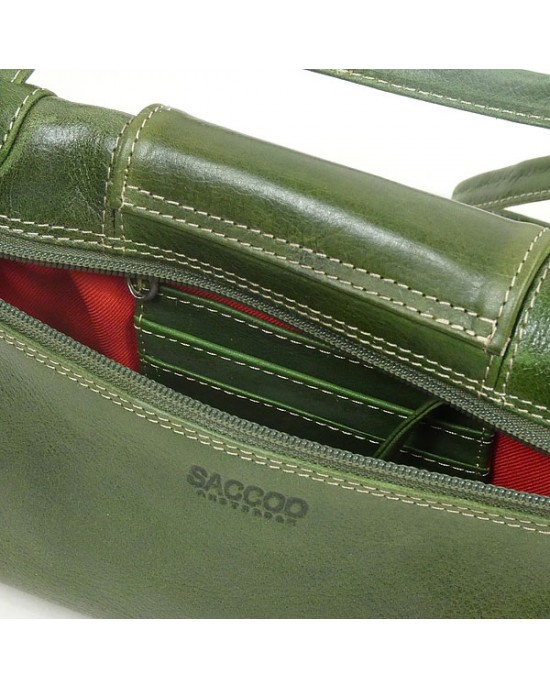 Green Leather Shoulder Bag by Saccoo