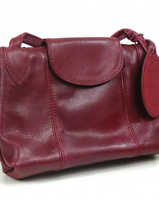 Red Leather Shoulder Bag by Saccoo
