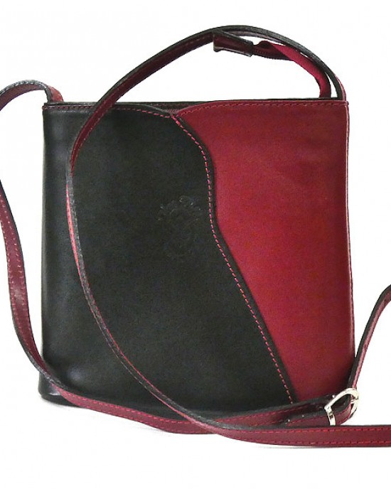 Black Red Italian Leather Shoulder Cross Body Bag