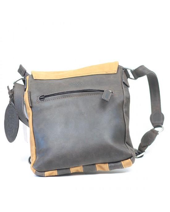 Two Tone Long Leather Shoulder Bag