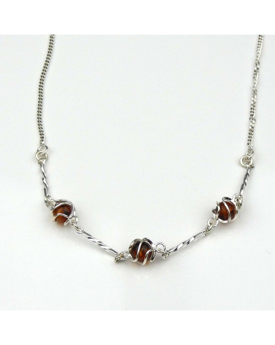 Amber Silver Necklace - NECKLACES & PENDANTS