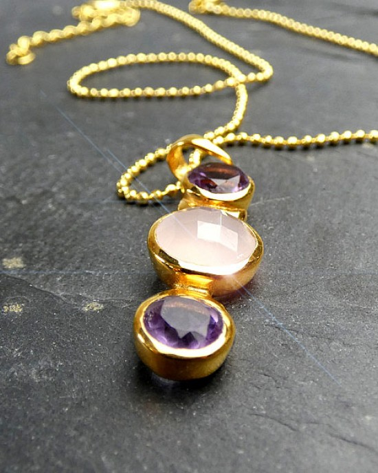 Amethyst & Rose Quartz Necklace