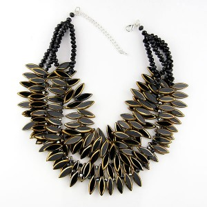 Black & Gold Glass Crystal Necklace