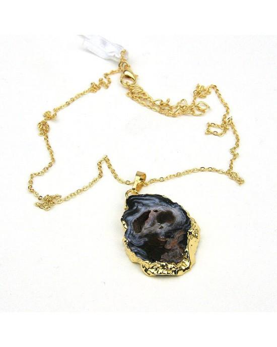 Black Open Druzy Pendant