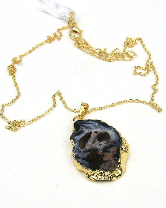 Black Open Druzy Pendant