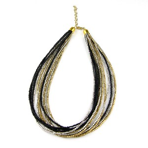 Black Silver Gold Seed Bead Necklace