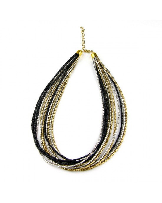 Black Silver Gold Seed Bead Necklace - NECKLACES & PENDANTS